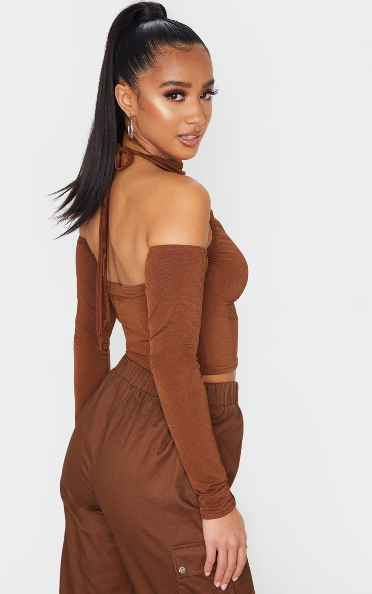 Petite Chocolate Brown Cut Out Shoulder High Neck Long Sleeve Crop Top 2