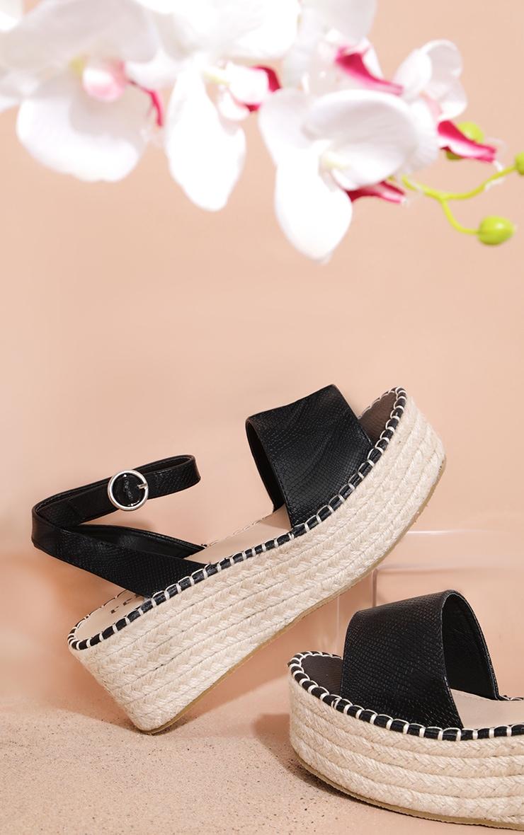 Black Snake Embossed Espadrille Flatform Sandal 4