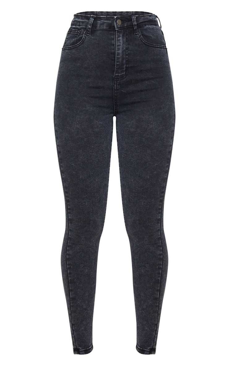 PRETTYLITTLETHING Black Acid 5 Pocket Skinny Jeans 3