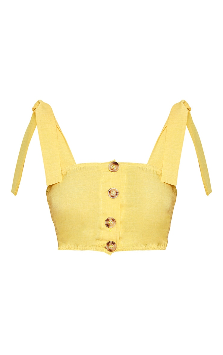 Yellow Woven Button Up Square Neck Tie Crop Top 3