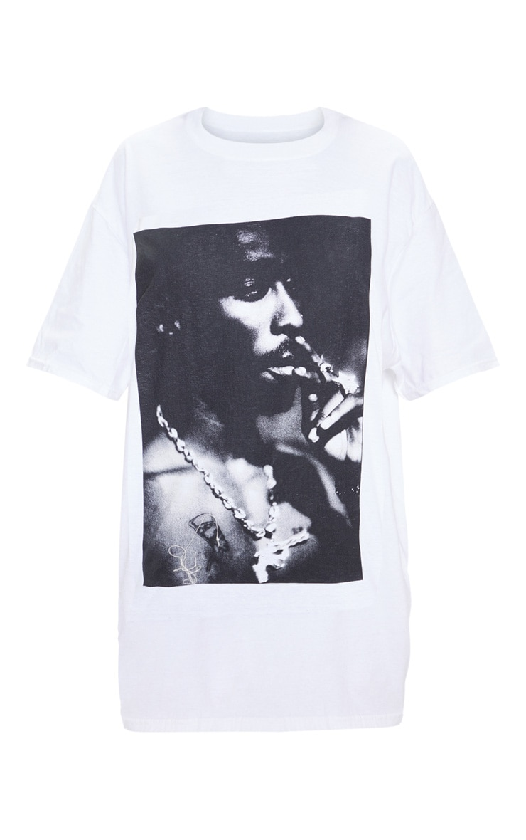 T-shirt blanc imprimé photo Tupac 3