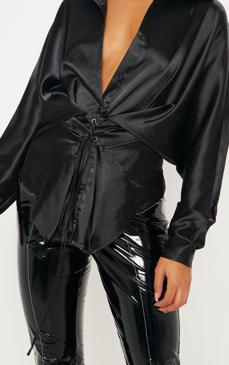 Black Corset Detail Satin Shirt 5