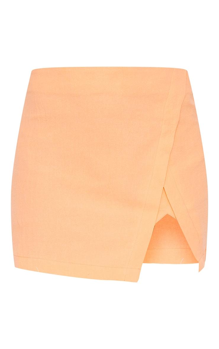 Petite Coral Split Detail Linen Look Mini Skirt 6