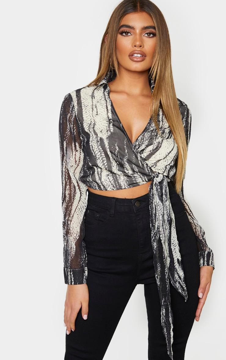 Black Chiffon Abstract Zebra Print Tie Front Blouse 1