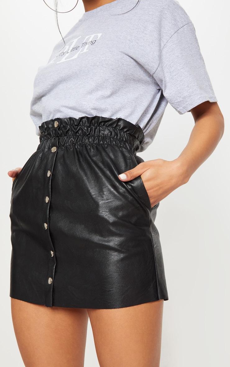 Black Popper Front PU Skirt 6