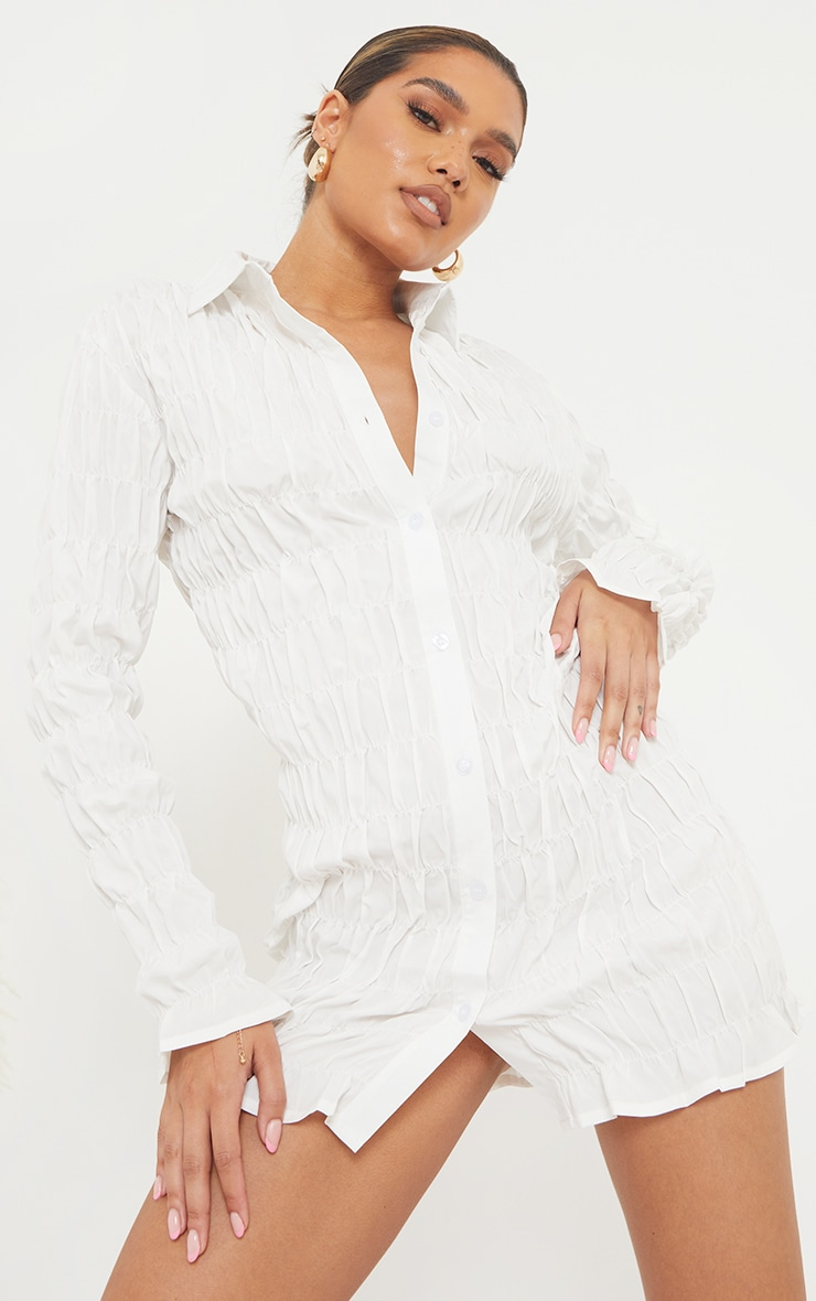 White Shirred Ruched Button Down Shirt Dress 3