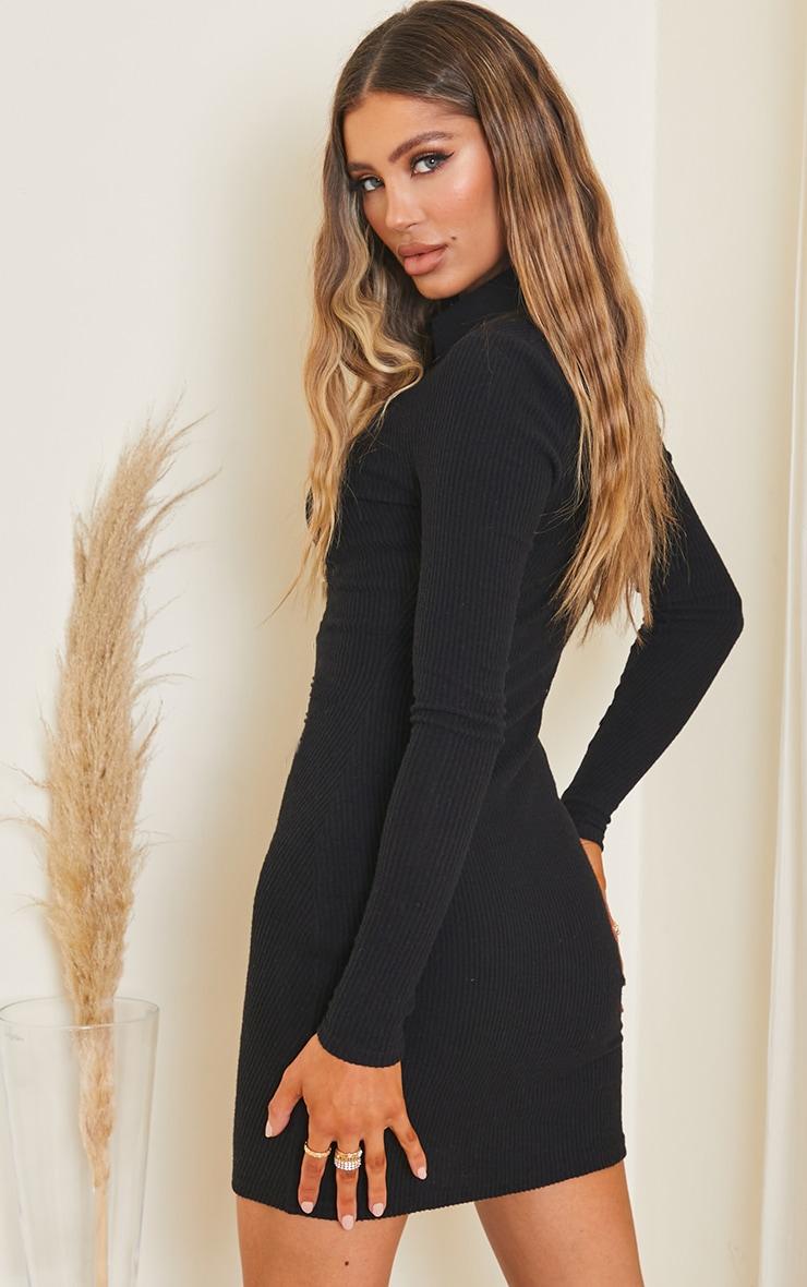 Black Rib Long Sleeve Ruched Shirt Dress 2