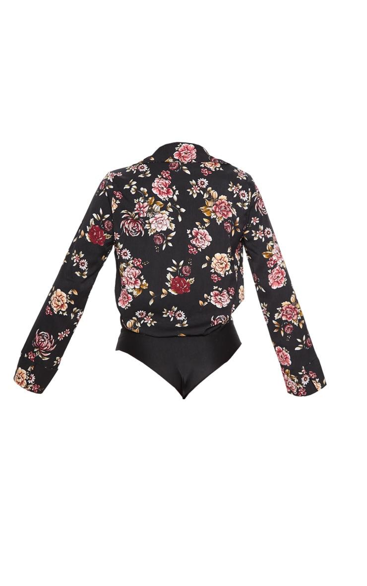 Black Floral Plunge Blazer Thong Bodysuit 4