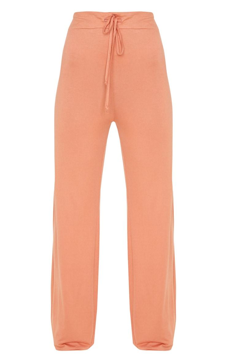 Chestnut Drawstring Jersey Wide Leg Jogger 3