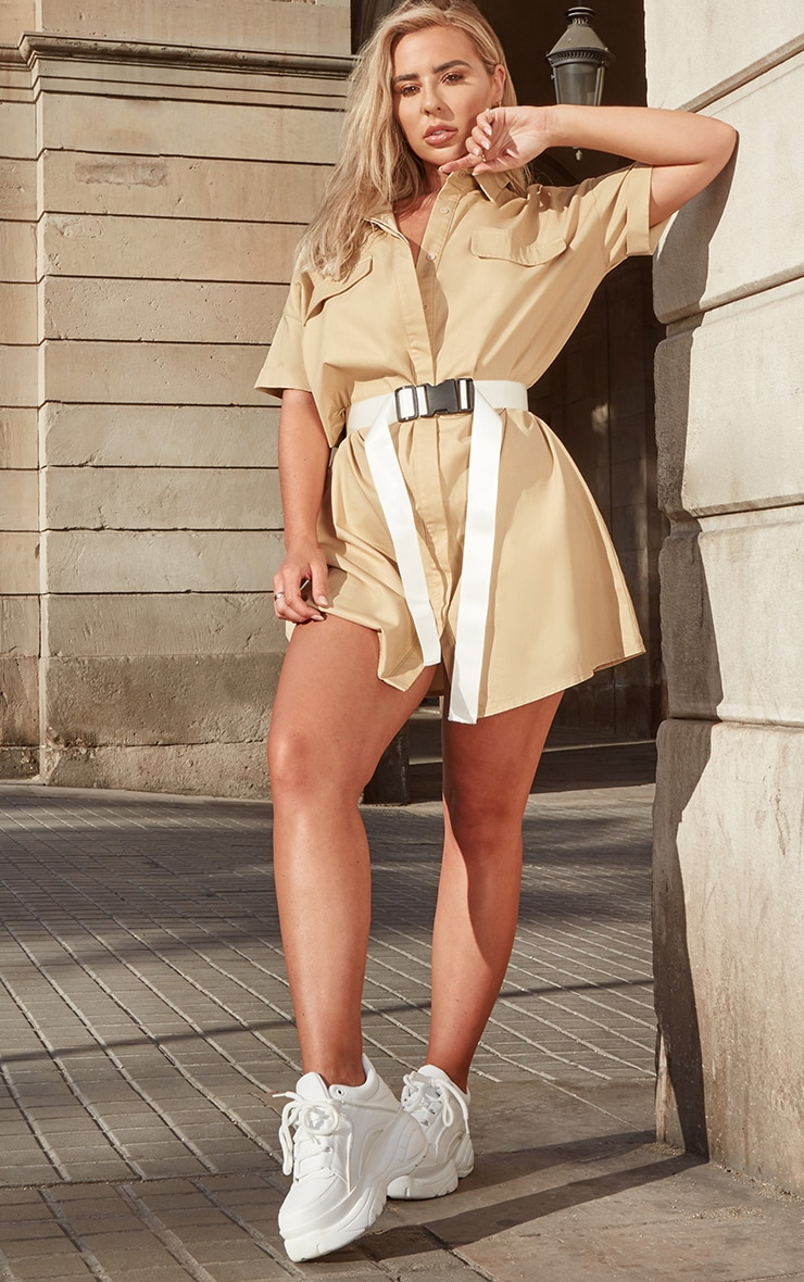Petite Stone Oversized Utility Shirt Dress