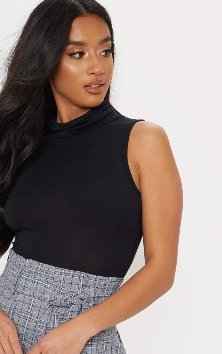 Petite Black Basic Roll Neck Sleeveless Bodysuit 6