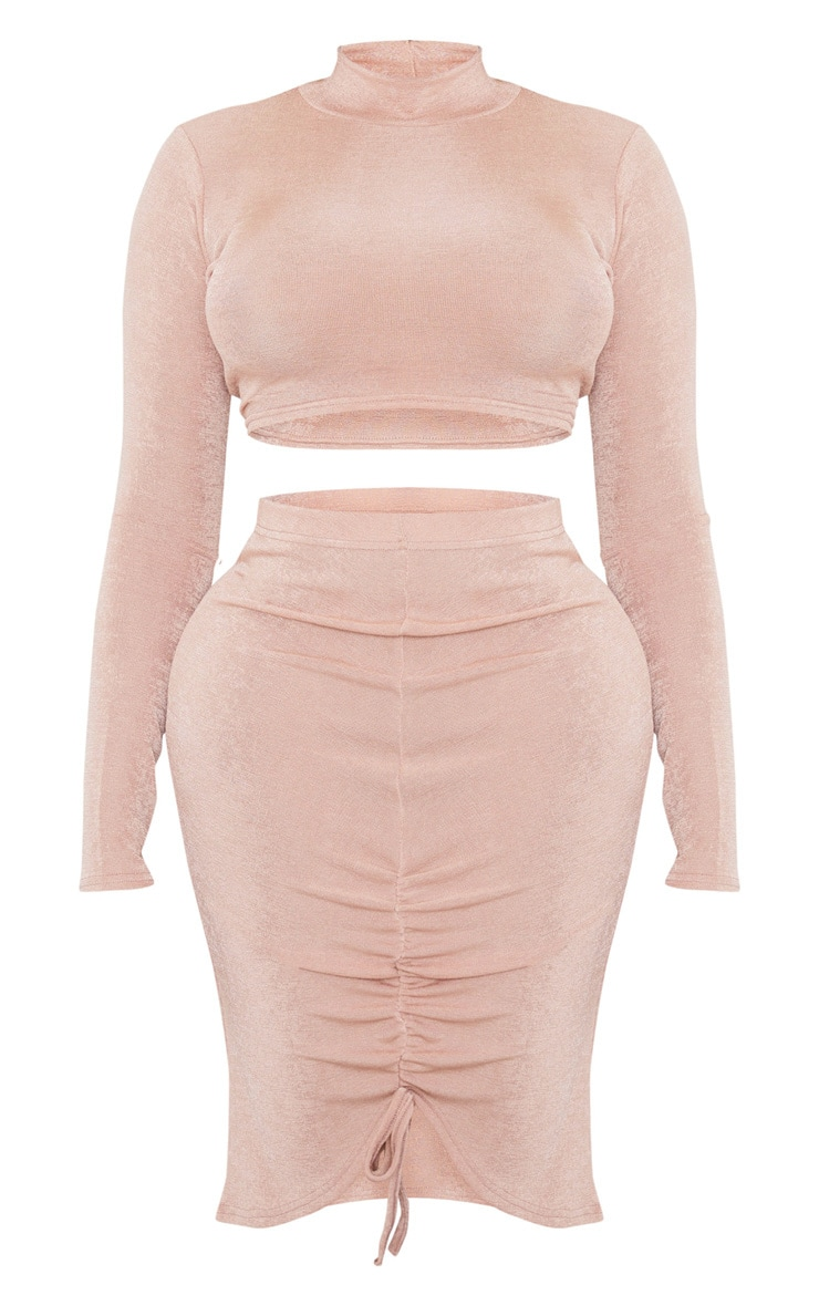 Dusty Rose Acetate High Neck Top And Ruched Skirt Set 3