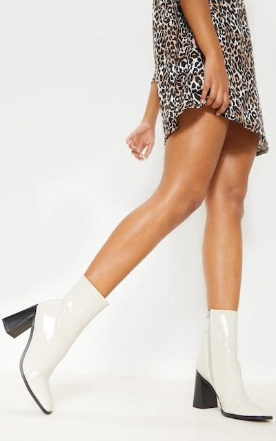 Cream Square Toe Block Heel Ankle Boot