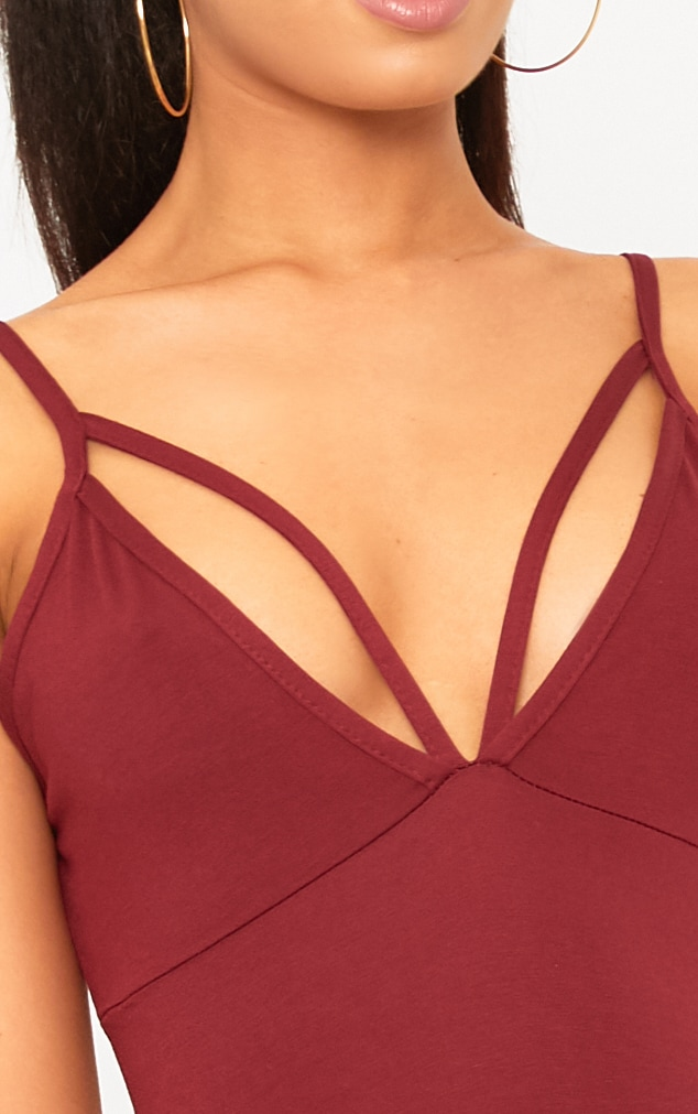 Riana Burgundy Strap Detail Bodycon Dress 5