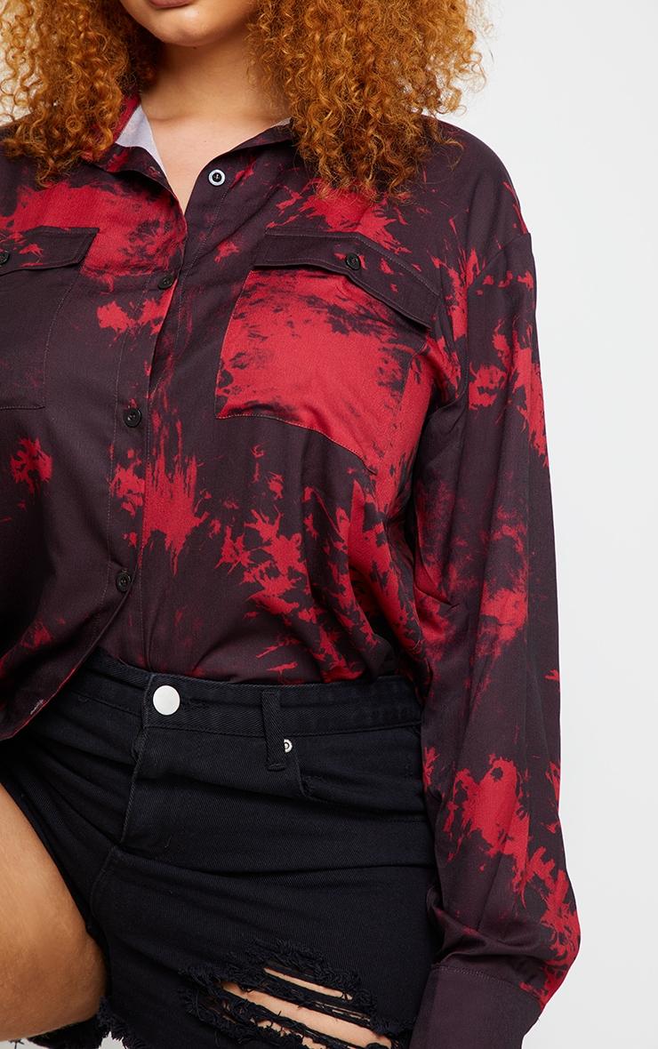 Plus Black Tie Dye Oversized Shirt 4