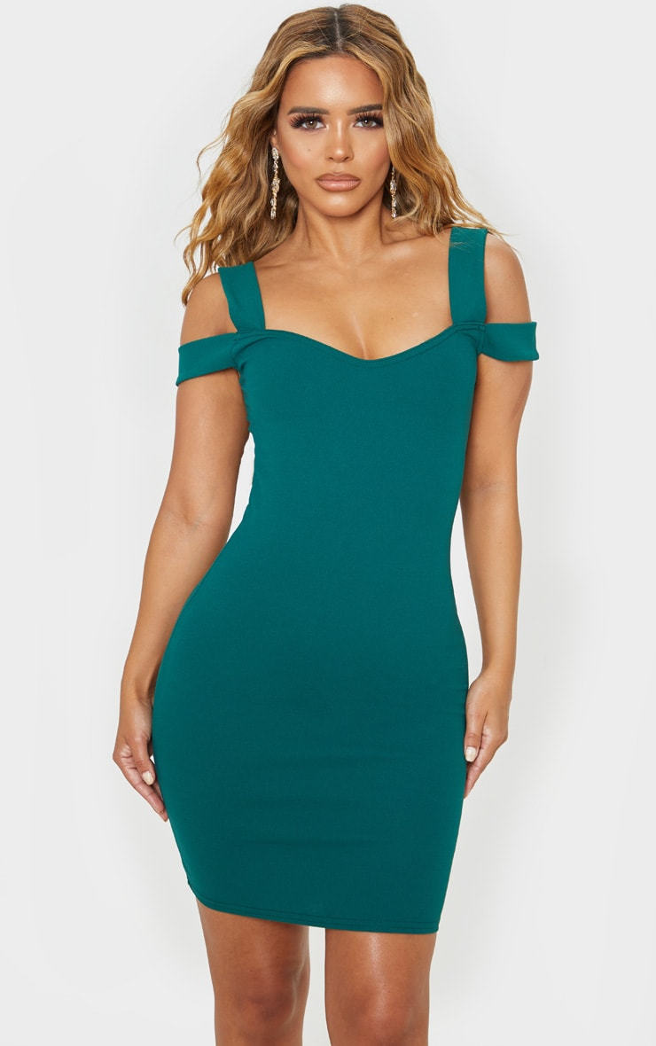 Petite Emerald Green Strappy Bardot Midi Dress 1