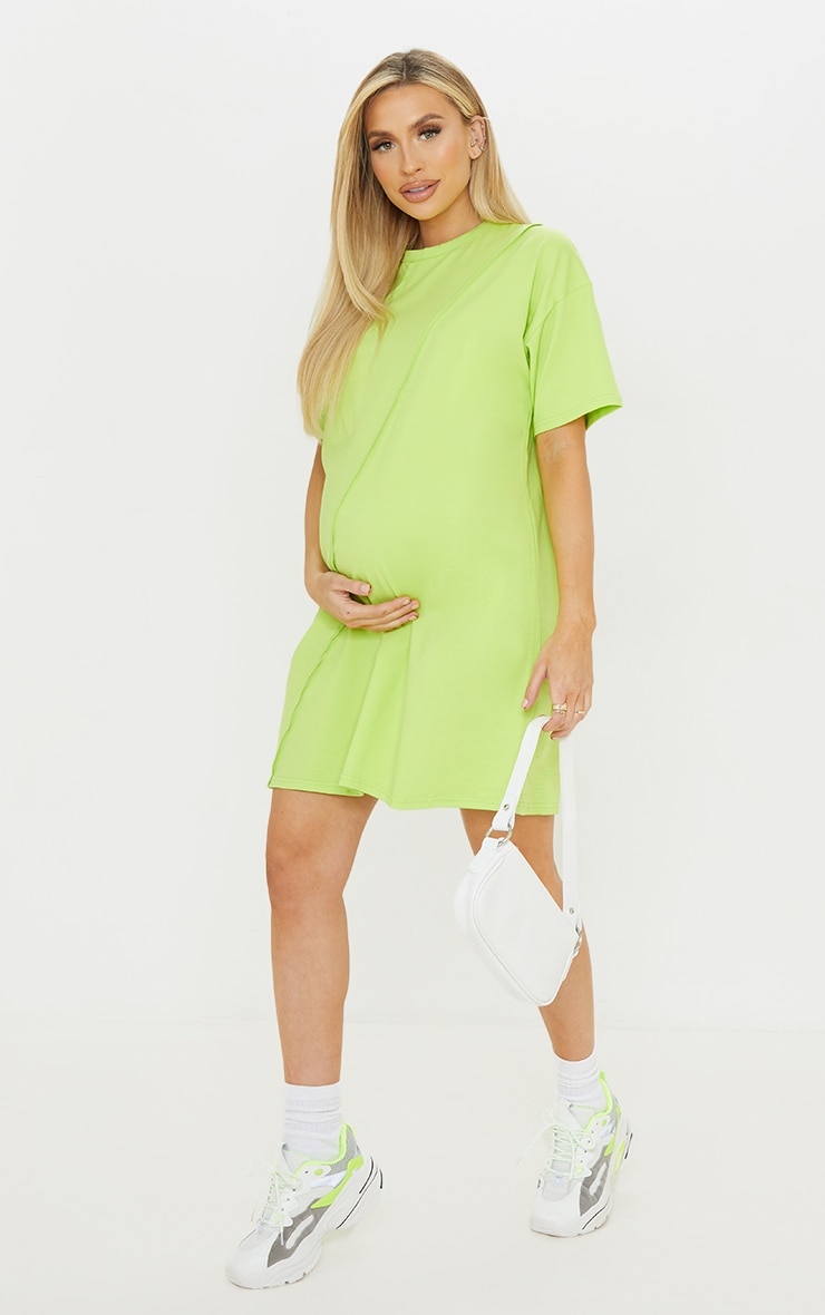 Maternity Lime Washed Lime Oversized Seam Detail T-Shirt Dress 3