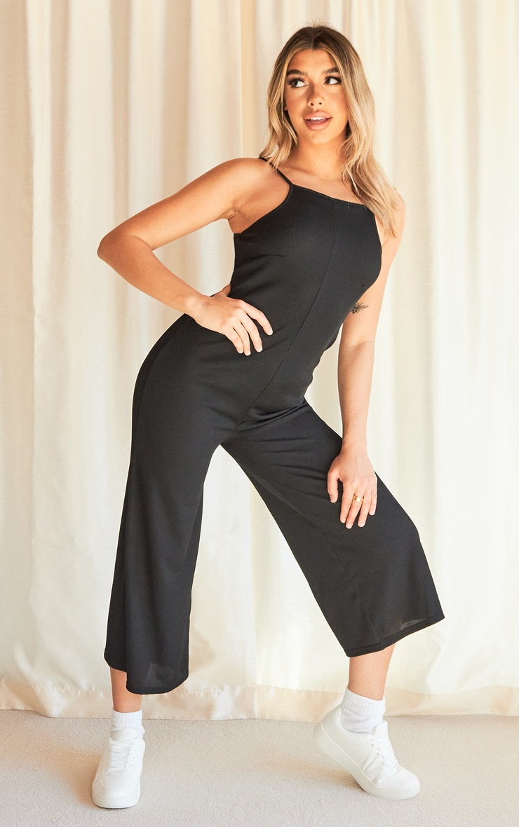 Black Rib Wide Leg Culotte Jumpsuit 3