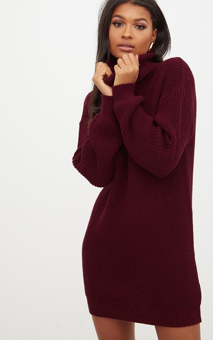 Burgundy Roll Neck Jumper Dress 1