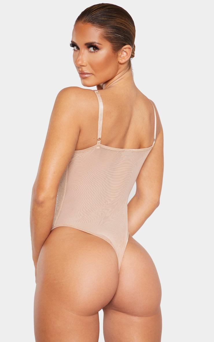 Nude All Over Diamante Mesh Body 2
