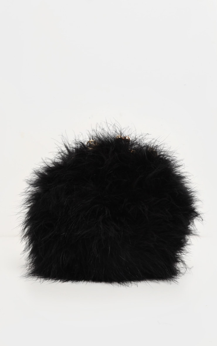 Black Marabou Feather Cross Body Bag 2