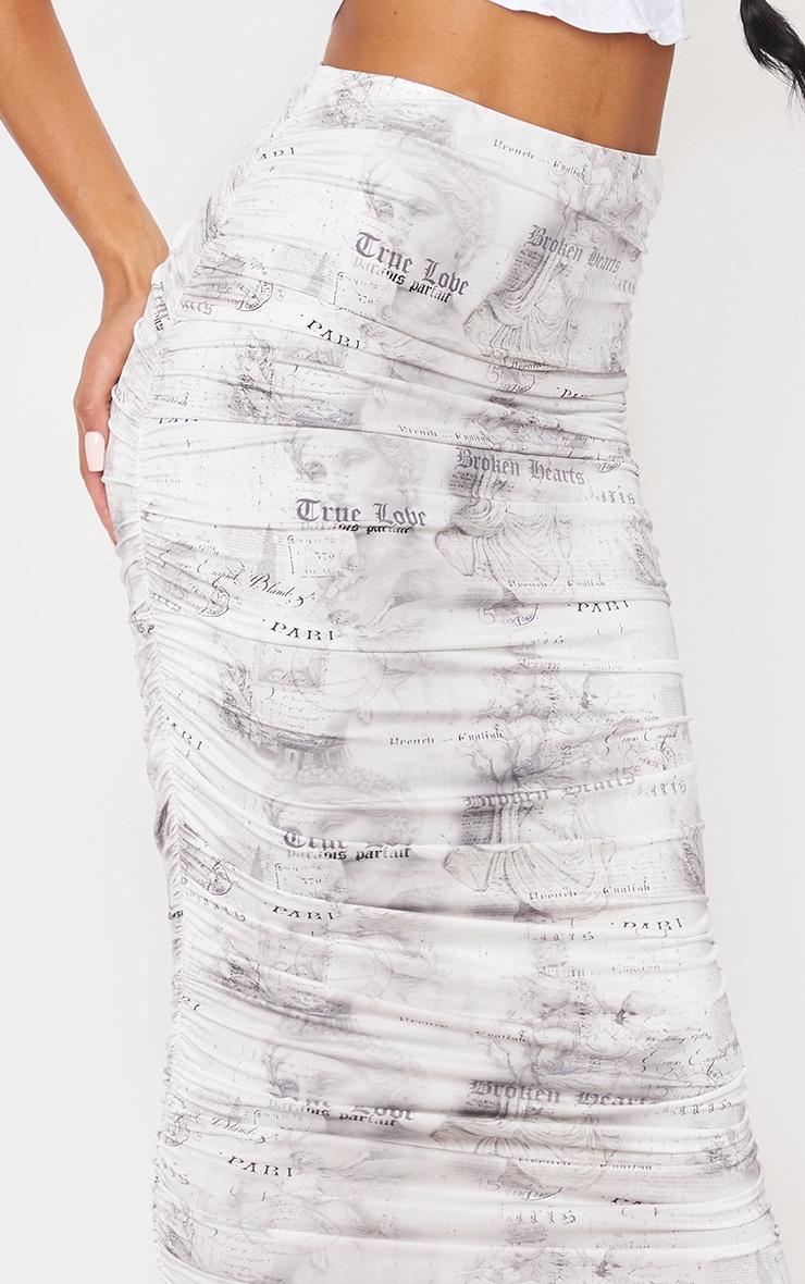 White Text Print Slinky Ruched Midi Skirt 4
