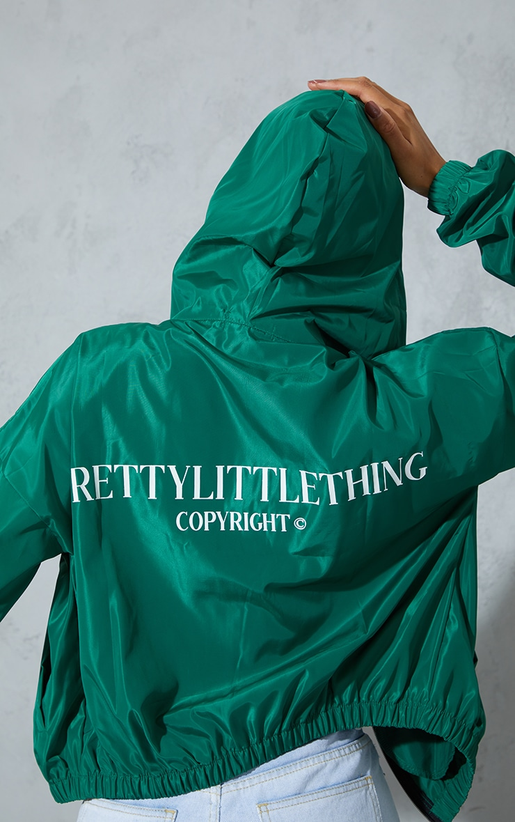 PRETTYLITTLETHING Green Oversized Hooded Shell Jacket 4