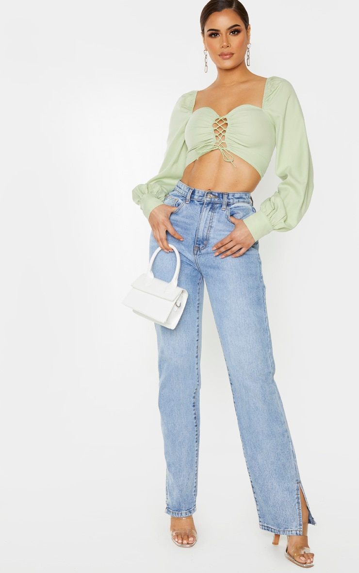 Tall Sage Green Lace Up Long Sleeve Cropped Blouse 4