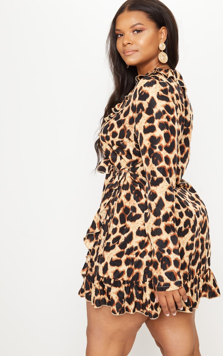 Plus Leopard Ruffle Wrap Dress 2
