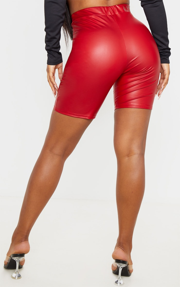 Red Coated Seam Detail Longline Short 4