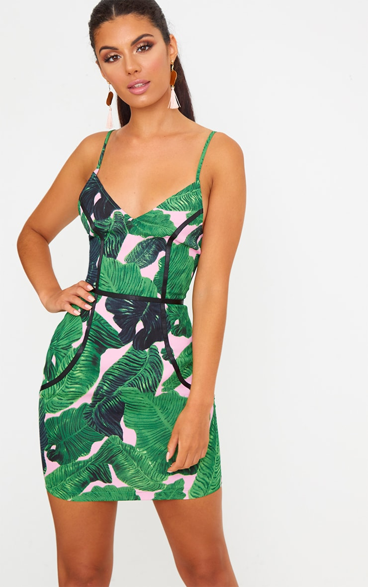 Green Tropical Leaf Print Binded Bodycon Dress 1