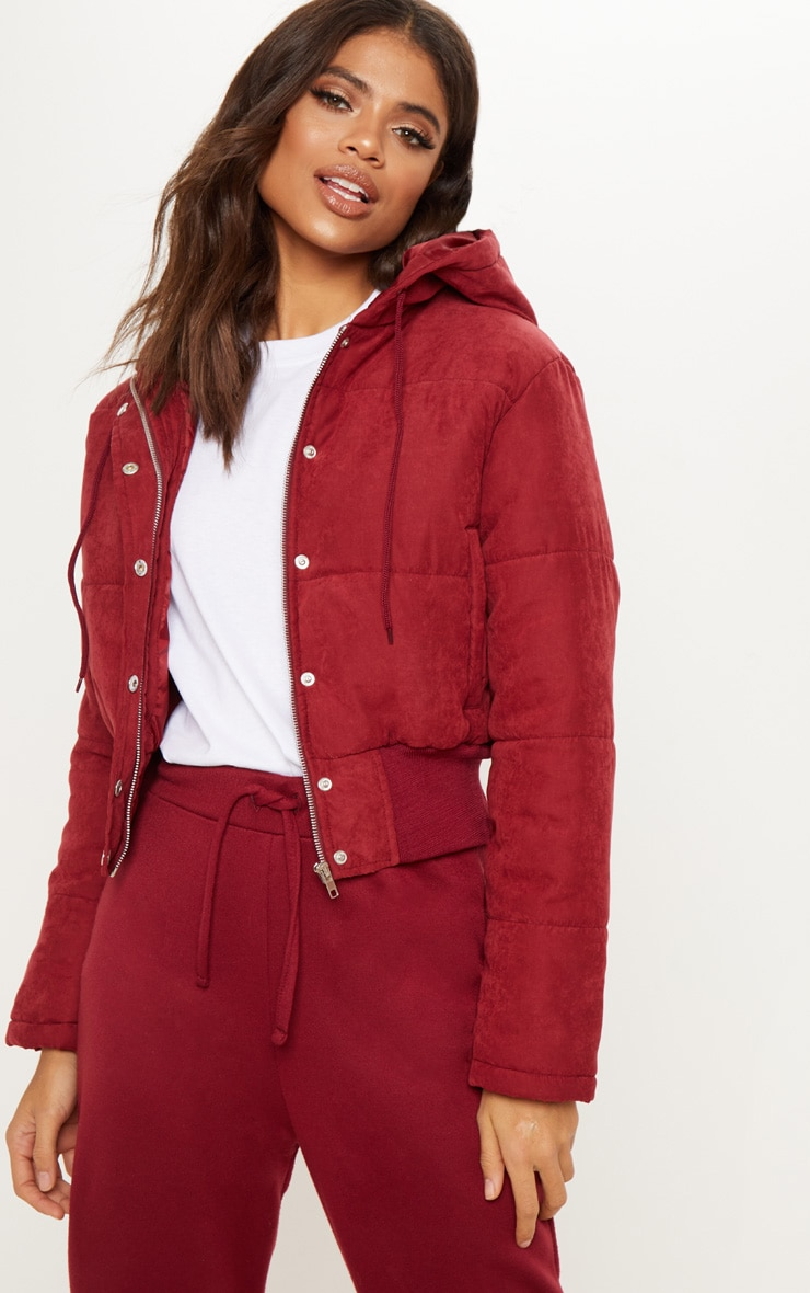Burgundy Hooded Peach Skin Puffer  1