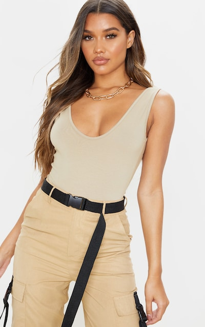 Stone Cotton Scoop Sleeveless Bodysuit
