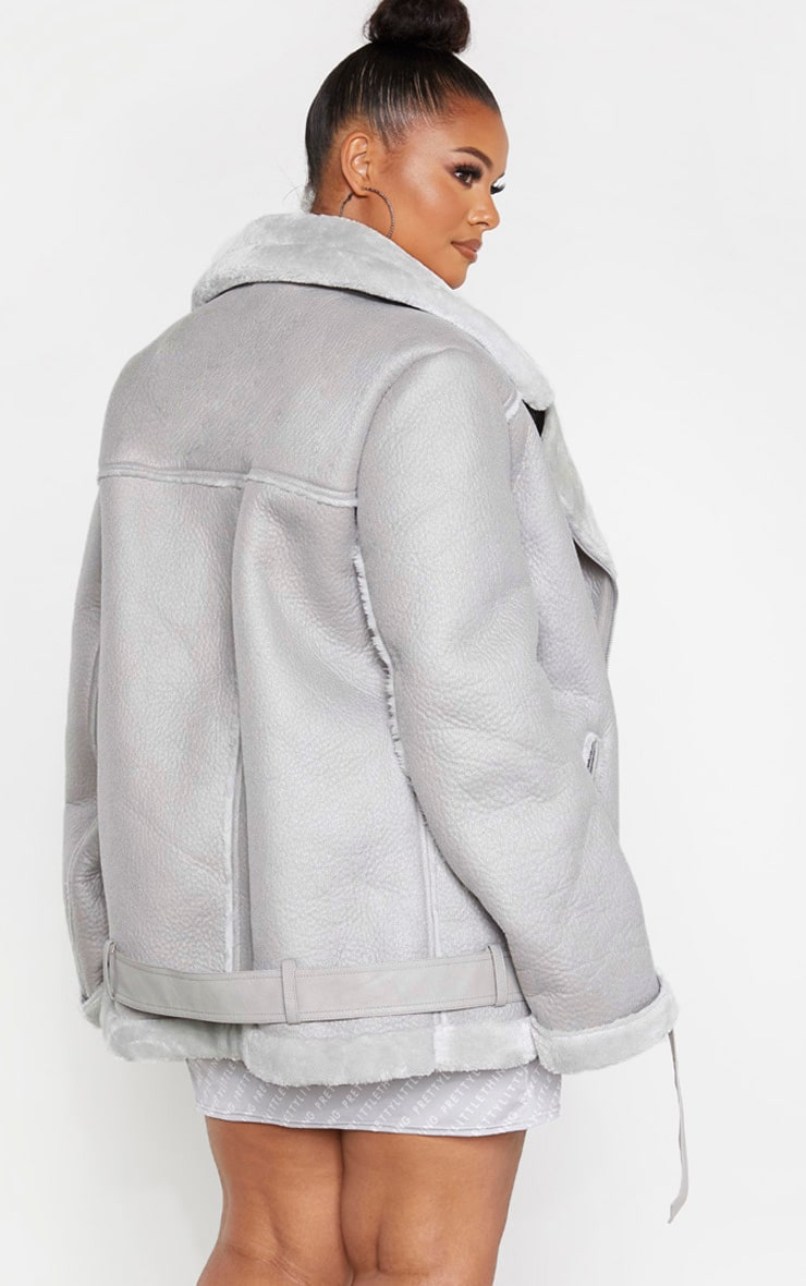 Plus Grey Oversized PU Aviator 2