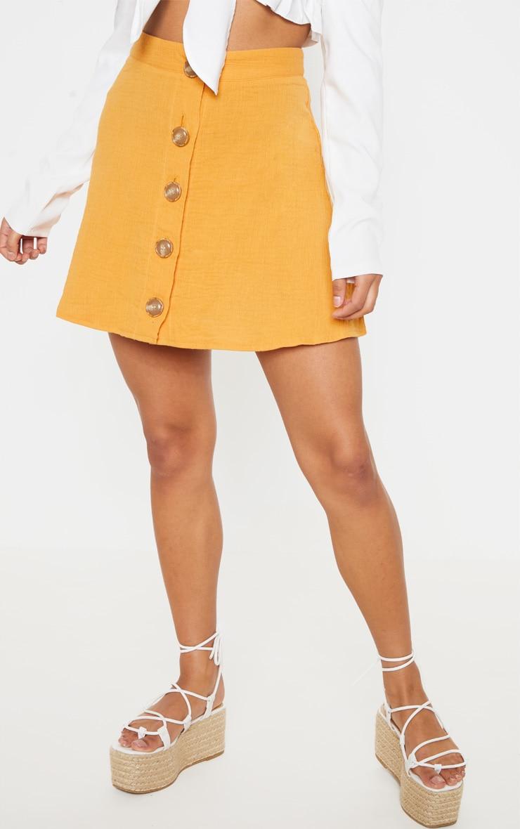 Mustard Button Front Linen Feel Mini Skirt 2