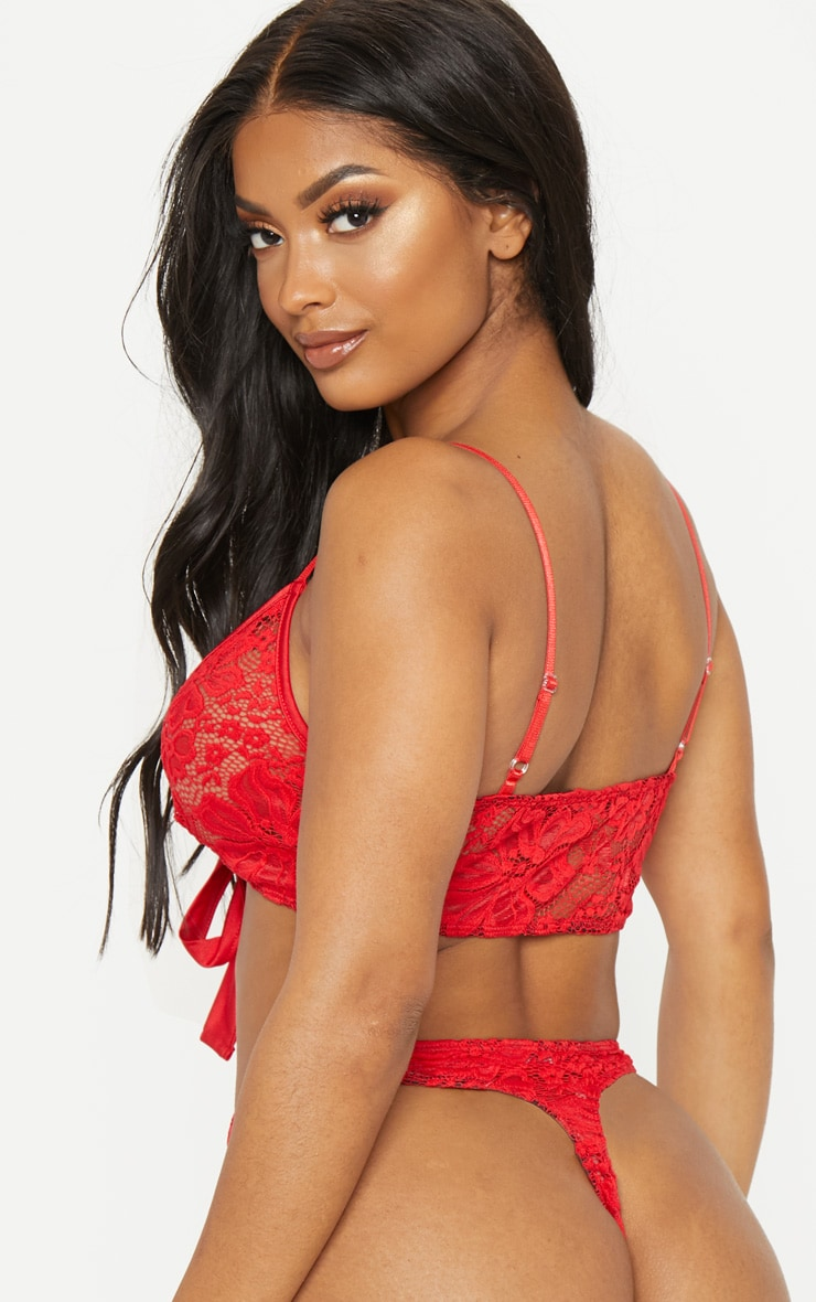 Shape Red Lace Tie Front Bra 2