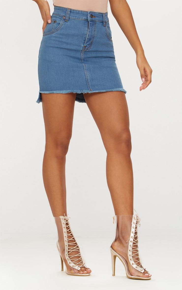 Mid Wash Step Hem Denim Mini Skirt  2