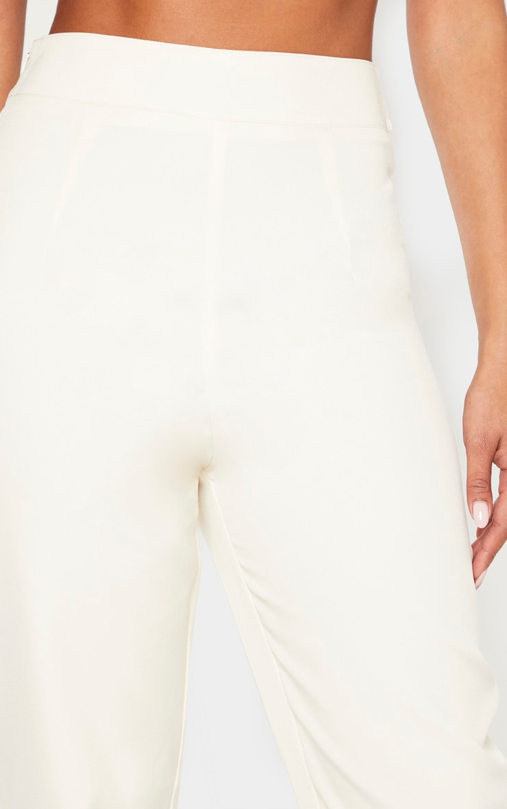 Cream Buckle Detail Straight Leg Trouser 5