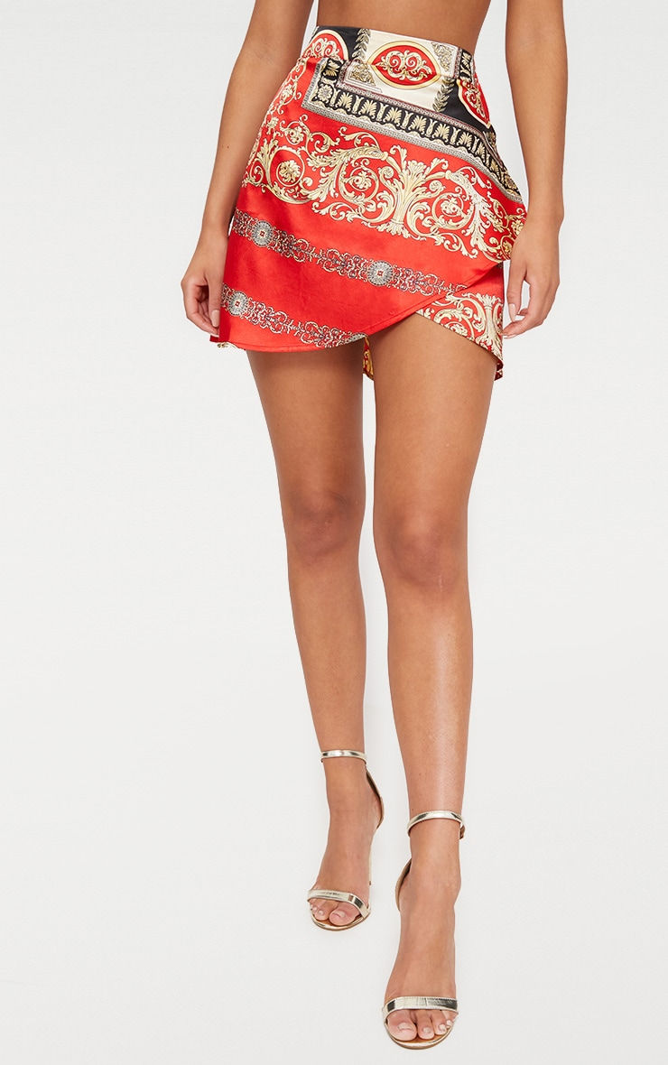 Red Satin Scarf Print Wrap Tie Mini Skirt 2