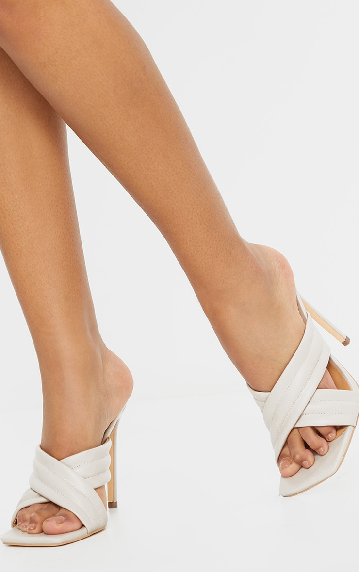 Cream Tube Cross Strap Mule Heels 1