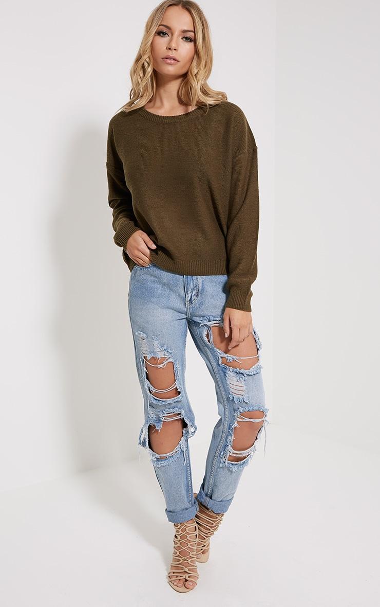 Farren Olive Knitted Crop Jumper 3