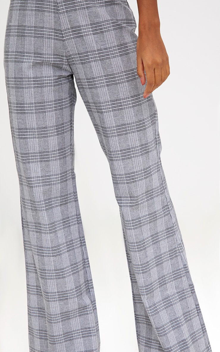 Grey Check Tailored Wide Leg Trousers 5
