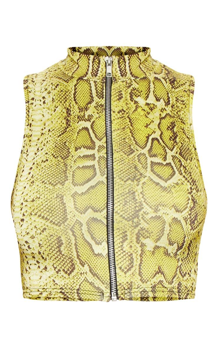 Lime Snake Zip Through Crop Top 3
