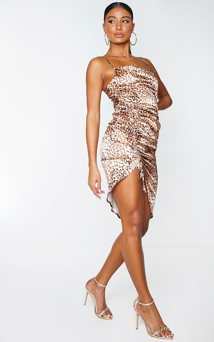 Brown Leopard Print Satin Strappy Ruched Side Midi Dress 3