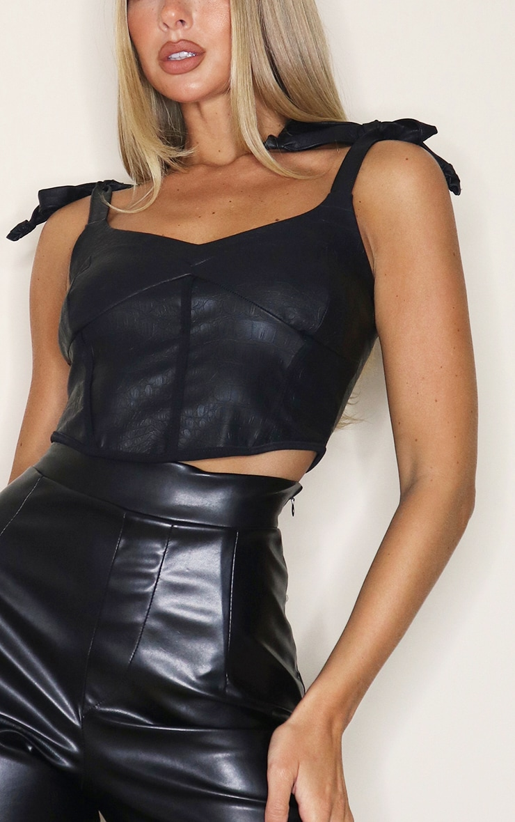 Black PU Croc Tie Strap Curved Hem Crop Top 4