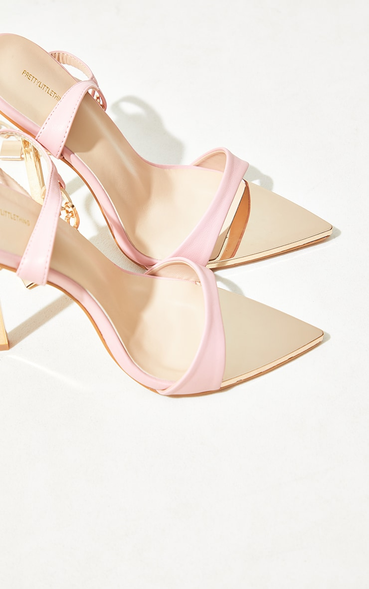 Baby Pink Pointed Toe Chain Ankle Lock Detail Heeled Sandals 3