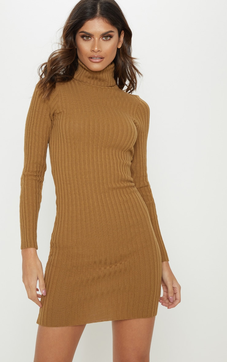 Camel Ribbed Knitted Roll Neck Dress  1