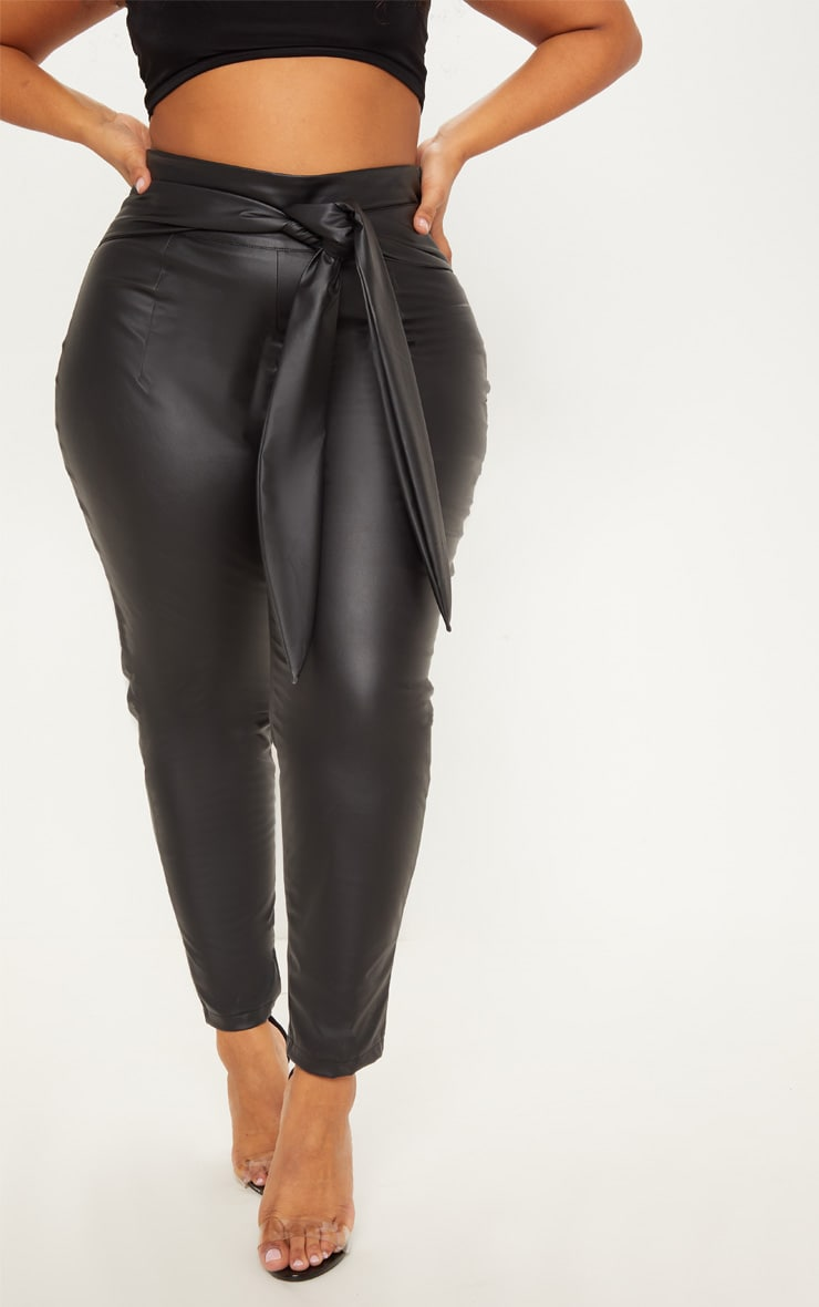 Plus Black Faux Leather Belt Detail Trouser 2