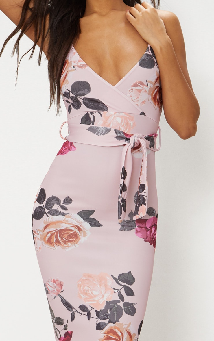 Dusty Pink Floral Print Plunge Tie Detail Midi Dress 4