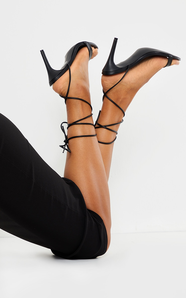 Black Wide Fit Barely There Ankle Tie Strappy Sandals 2